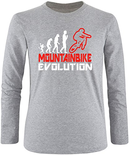 EZYshirt® Mountainbike Evolution Herren Longsleeve Grau/Weiss/Rot
