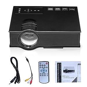 Uvistar Vidéoprojecteur UC40 Multimédia LCD Mini Projecteur LED Portable Projecteur avec Interface de HDMI / AV / USB / SD / VGA pour les vidéojeux, TV, DVD, PC portable, Lecteur Multimédia, Cinéma de Famille, Divertissement Pico Projecteur