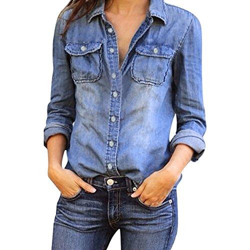Italily - camicetta delle camicie delle camicie del denim blu d'annata delle nuove maniche lunghe casuali delle donne (blue, m)