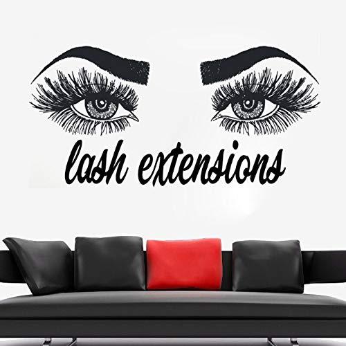 zqyjhkou Ciglia Estensioni Wall Sticker Sopracciglia Sopracciglia Make Up Stickers murali Salone di Bellezza Decorazione Vinyl Lashes Sticker for Wall Ay1082 87x42cm