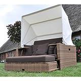 Polyrattan Liegeinsel Beach Lounge Mixed Beige Flachgeflecht wetterfest hochbequem Gartenmöbel Terrasse Domus Ventures