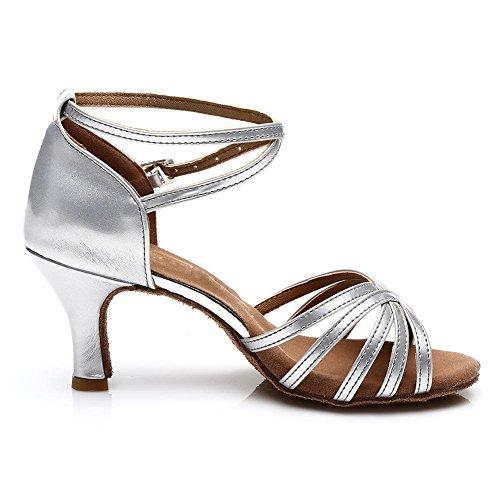 SWDZM Damen Ausgestelltes Tanzschuhe/Standard Latin Dance Schuhe Satin Ballsaal ModellD213-7 Silber EU38.5 - 3