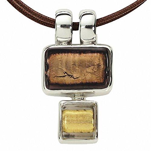 Gabriella Nanni, collier en coton ciré avec pendentif en argent 925et verre de Murano-minicollana Oro Antico
