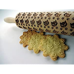 Nudelholz mit Miezekatze für hausgemachtes Gebäck. Präge Teigrolle. Geschenk für Katzenliebhaber. Katze
