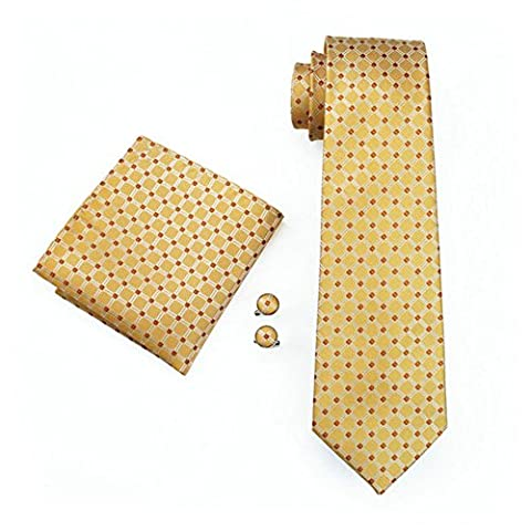 Mens Formal Paisley Striped Floral 100% Silk Woven Neck Tie, Pocket Square Hanky Cufflink Set (Yellow Check)