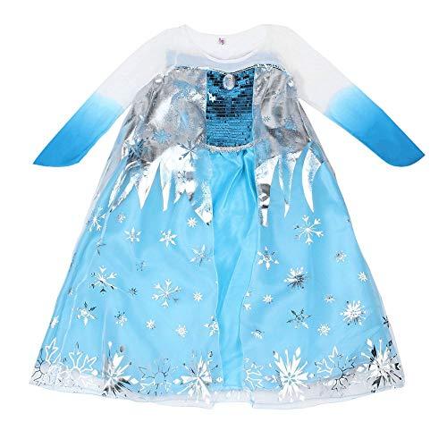 Princess Kinder Kostüm Asian - EIZUIDAZI-UK Neue Prinzessin Mädchen Kostüm Party Phantasie Schnee einfrieren Königin Cape Kleid blau 120