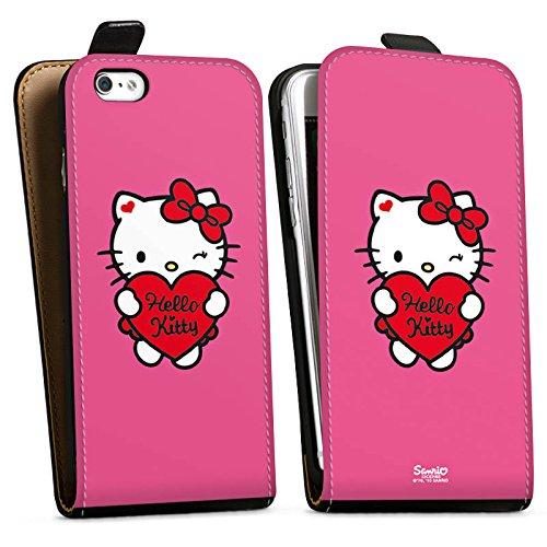 Apple iPhone X Silikon Hülle Case Schutzhülle Hello Kitty Merchandise Fanartikel Sweet Heart Downflip Tasche schwarz