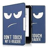 kwmobile Hülle für Tolino Vision 1 / 2 / 3 / 4 HD - Flipcover Case eReader Schutzhülle - Bookstyle Klapphülle Don't touch my E-Reader Design Weiß Dunkelblau