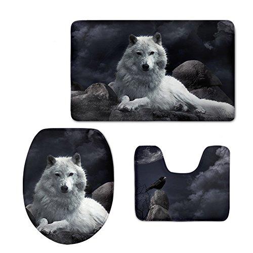chaqlin Durable 3-teilig Bad Teppich Set Creative Tiere Zoo Flanell Badezimmer Teppich Contour Deckelbezug Modern Wolf-2