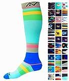 A-Swift Kompressions-Socken, Verlaufsfilter, sportliche Passform, für Laufsport/Krankenschwestern/Flugreisen/Skifahren/Mutterschaft/Schwangerschaft/Krampfadern/ für mehr Ausdauer und eine schnelle Erholung, 1 Paar, Sky Stripes, S/M