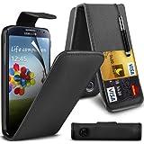 ONX3 Samsung Galaxy S4 i9500 PREMIUM PU CREDIT CARD SLOT Black Leather Flip Case + Schwarz Retractable Touchscreen Stylus Pen + LCD-Display Schutzfolie