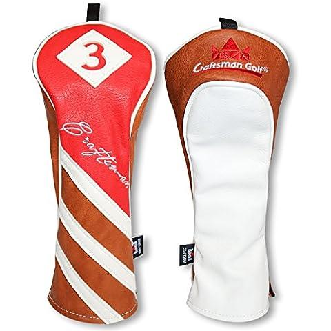 Artesano Golf piel sintética de color rojo marrón blanco conductor/fairway wood/Hybrid para palos de golf # 1# 3# 5x, #3 Wood Cover