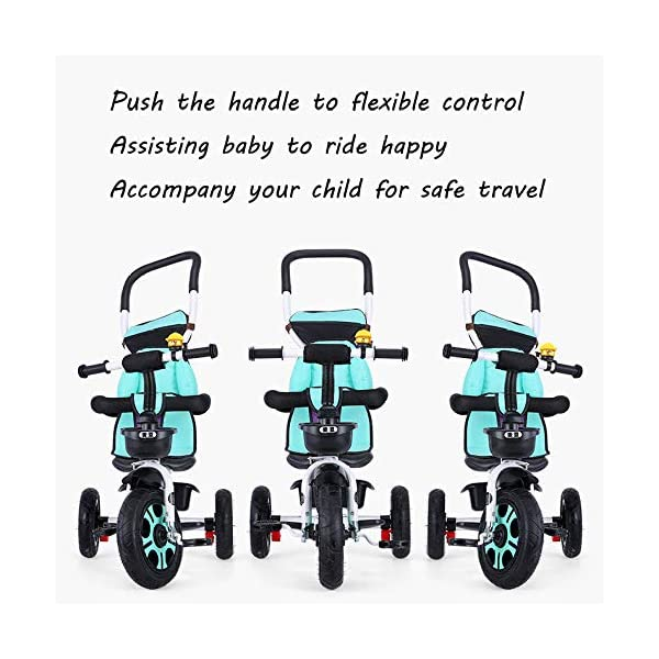 3 In 1 Childrens Tricycles 12 Months To 5 Years Stable Seat Can Be Adjusted Back Kids Tricycle Heigh Adjustable Handlebar Folding Sun Canopy Child Trike Maximum Weight 25 Kg,Gray BGHKFF ★{Material}: High carbon steel frame + environmentally friendly plastic, suitable for children from 1 to 5 years old, maximum weight 25 kg ★{3 in 1 multi-function}: Convertible to stroller and tricycle. Remove the hand putter and awning as a tricycle. ★{Safety Design}: Gold triangle structure, not easy to turn side down, skin-friendly safety Oxford cloth fabric, 360° safety fence, 3 adjustable awnings, effectively block UV rays, rear wheel double brakes, lock rear wheel 7