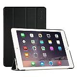 EasyAcc iPad Air 2 Smart Case Ledertasche Schutzhülle Bumper Hüllen Tasche Leder Hülle Ultra Slim Lederhülle Flip Case Etui mit Standfunktion / Auto Sleep Wake up für iPad Air 2 / ipad 6 - Schwarz, Kunstleder