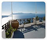 Drempad Tappetini per il Mouse Custom, Travel Mouse Pad, Sunny Summer Terrace Balcony Patio with Scenic Mountain Island Scenery, Standard Size Rectangle Non-Slip Rubber Mousepad, Blue White and Green
