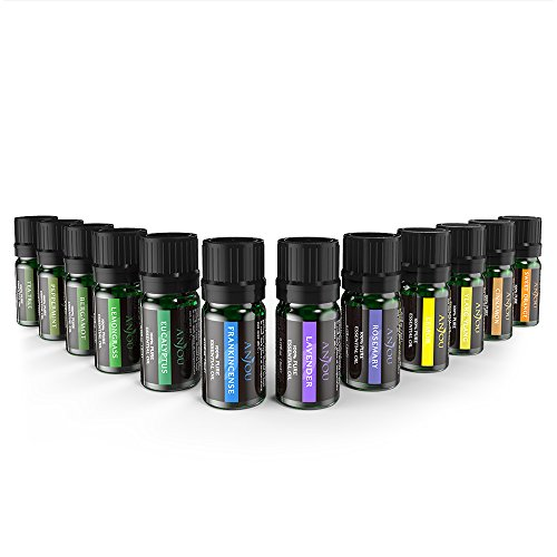 Essential Oils Aromatherapy Anjou 12 Pure Natural 100 Oils (Lavender, Sweet Orange, Tea Tree, Eucalyptus, Lemongrass, Mint, Bergamot, Incense, Lemon and Extra) for Humidifier