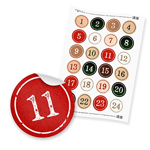 Adventskalender Zahlen 1-24 Aufkleber Sticker 4cm StempelDesign grün rot weiß Hochglanz