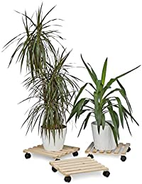 Relaxdays Porte plantes à roulettes lot de 3 support pour pot de fleurs en bois carrés avec roues 30 kg pour tous les sols HxlxP: 7,5 x 35 x 35 cm, nature