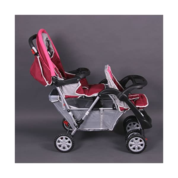 Exclusive Tandem - Twin Pram rose - BambinoWorld Bambino World You are purchasing a high quality and first class Tandem/ Twin Pram from Bambino World, with additional equipment and safety features, ideal for great day trips and every day use. Ideal pram for parents of twins or children with small difference in age. While your larger child explores the environment, your baby sleeps at fresh air. It is suitable from birth (rear seat) and 6 months (front seat) to about 3 years (15 kg). MAIN FEATURES: Easy folding (112 x 56 x 40 cm) ;Size open 110 x 54 x 120 cm ; weight 16,5 kg ;Height handle 107 cm, backrest 40 cm, seat depth 23 cm; wheel diameter 20 cm . EXCLUSIVE ADVANTAGES:Very compact and light frame ;All wheels with springing for a comfortable journey ;Front reflectors for your safety ;Lockable swivel front wheels ;Separate brakes on rear wheels ;Several position lie back adjustable seat :Back seat: sitting and lying position ,Front seat: sitting and resting position ;Seat guarantees good ventilation and comfortable seating ;5-point safety harness ; Age: Front seat: 6-36 months | Rear seat: 0-36 months 3