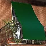 Tenda da Sole con Kit Ganci e Anelli in Tessuto Resistente da Esterno o Balcone Misura cm 140x350 Dis.5bis Tinta Unita Colore Verde