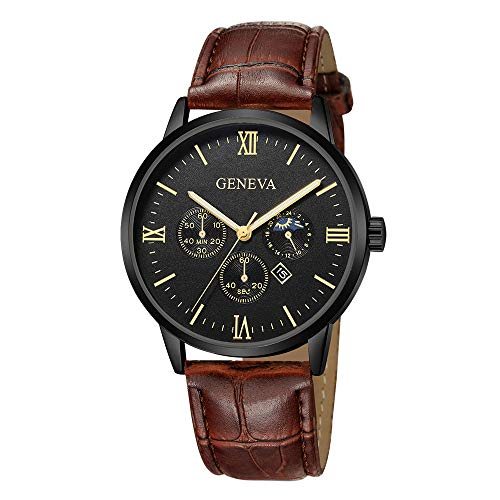 Neuer Trend Classic Armbanduhr Herren Analog Quarz Uhren, Männer Lederarmband Wrist Watch ultradünn Minimalistisches Design Zifferblatt Uhr LEEDY