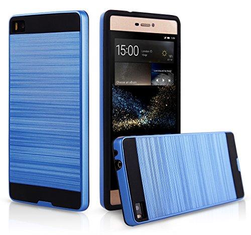 EGO® Hard Case Schutz Hülle für Huawei P8 Gold Metallic Effect Aluminium Brushed Handy Cover Schale Bumper Etui Blau