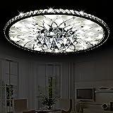 K9 Kristall-Deckenleuchte-runde Kristallleuchter des Wohnzimmer-LED, geschnitztes ausgeglichenes Glas, dreifarbiges Licht/Fernsteuerungsversprechen-Dimming (Farbe : A-Ø56cm*H16cm)