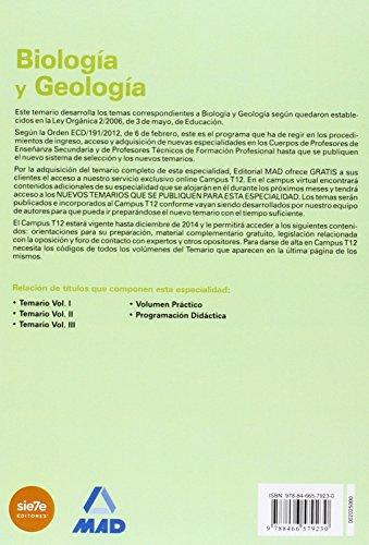 Cuerpo de profesores de enseñanza secundaria. Biología y geología. Temario. Volumen ii. Biología i (Profesores Eso - Fp 2012)