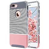 ULAK iPhone 7 Plus Hülle, Slim [Dual Layer] Schutz Hybrid Case mit Hard PC und Innengummi Cover für iPhone 7 Plus 5,5 Zoll (Roségold Stripes + Grau)
