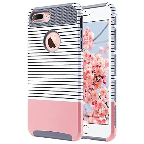 iPhone 7 Plus Coque, ULAK iPhone 7 Plus Housse Étui Hybride Armour Couche 2 en TPU + PC Anti-Chocs dur Coque pour Apple iPhone 7 Plus 5.5 Pouce (Gris + Or Rose)
