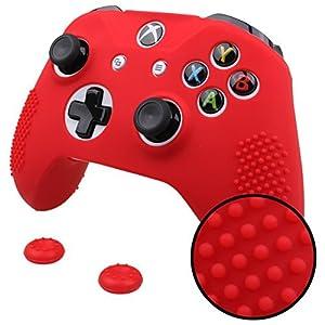 Pandaren® STUDDED Silikon Hülle Anti-Rutsch für beide Xbox One S, Xbox One X controller x 1 (rot) + thumb grips aufsätze…