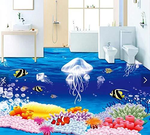 lxsart 3D Bodenbelag benutzerdefinierte wasserdichte Tapete 3D Fantasy Quallen Pflanzen 3D Badezimmer Bodenbelag Bild Fototapete für Wände 3D-400cmx280cm (Qualle Pflanze)