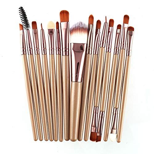 Pudincoco 15 Pcs/Kit Pinceaux De Maquillage Ensemble Cils Lèvres Fond De Teint Poudre Ombre À Paupières Sourcils Eyeliner Cosmétique Maquillage Pinceau Beauté Outil (Café)