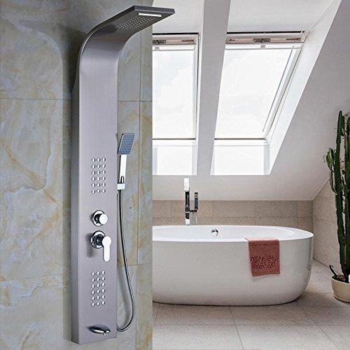 Hand-jet-massage-system (AllureFeng Nickel gebürstet Regen Dusche Panel Spray Massage System Einhand mit Jets & Hand Dusche Tower Duschsäule)
