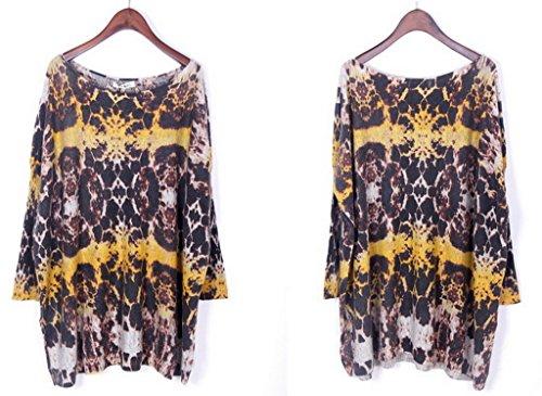 Bigood Pull Grande Taille Femme Tricoté Tops à Manche Longue Sweat-shirt Col Rond Imprimé Gris #AC