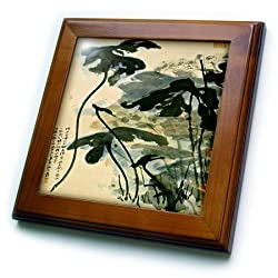 3dRose ft_62635_1 Picture of Ancient Chinese Lotus Painting-Framed Tile Artwork, 8 by 8-Inch