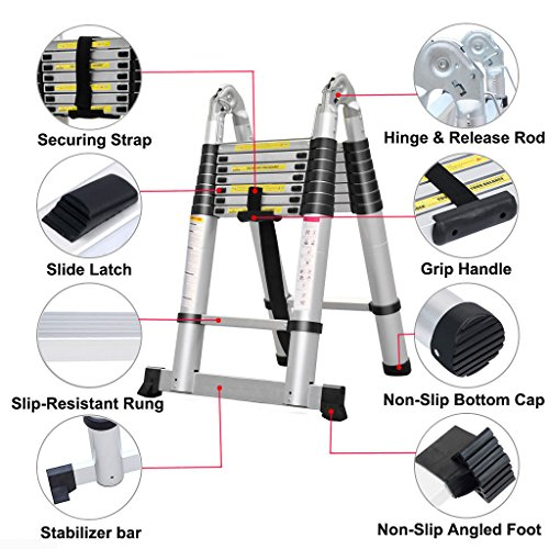 This ladder has been designed with safety in mind, thanks to solid rubber feet that won't slip even on wet surfaces, and a stabiliser bar that ensures stability in every position. Any adult can use this ladder since it has a great weight limit of 150kgs. The ladder itself weighs 18.2kg and whilst this may be too much to carry, it can be easily transported in the back of a van. So whether you want to use it at home or from site to site, this 5m ladder is worth investing in.