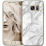 OOH!COLOR® Design Case für Samsung Galaxy S6 Edge Hülle mit weiß Marmor MTE021 Motiv Silikon Case Flexibele Tasche Design Schutzhülle Elastisch Etui Cover