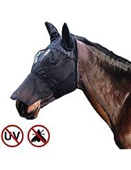 Harrison Howard CareMaster Masque de protection anti mouche Anti UV Oreilles et Naseaux Noir