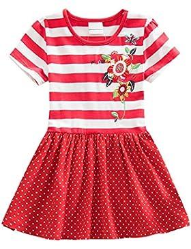 LSHEL Primavera / Estate Vestito a manica corta in cotone Vestito a pois a righe per bambina 3-8 anni
