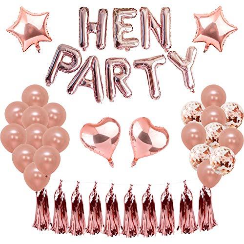 Weimi Rose Gold Hen Party Dekorationen Selbstaufblasende Folie HEN PARTY Banner Sterne Herz Folie Ballon Konfetti Latex Ballons für Hen Do Nights Bachelor Party Supplies
