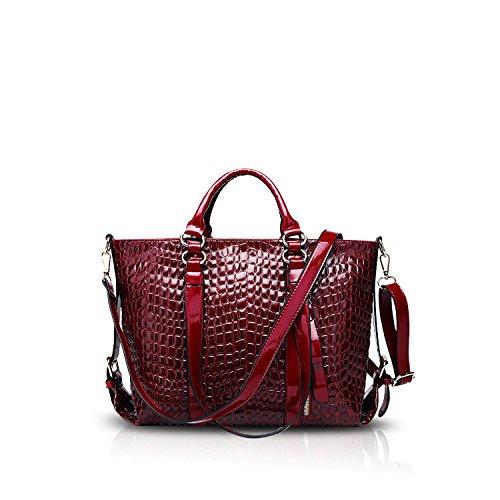 NICOLE&DORIS Damen Handtaschen Umhängetasche Schultertaschen Henkeltaschen Tasche Wasserdicht Krokodil PU Rot - Rot Krokodil Handtasche