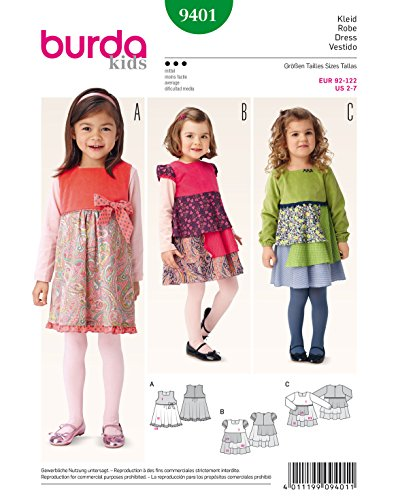 Burda 9401 Schnittmuster Träger-Kleid (kids, Gr. 92-122) Level 3 mittel