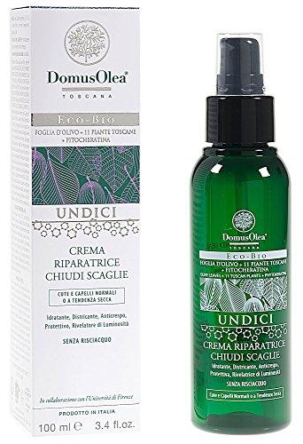 DOMUS OLEA - UNDICI - Crème de Réparation Lissante pour les Cheveux - Sans Rinçage - Effet Renforçant - Pour Cheveux Secs, Rasés et Traités - 100 ml