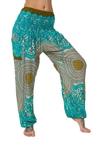 Pantalones harén–ALADDIN pantalones de Hippie con 18Diferentes diseños Alt Turquoise Talla única