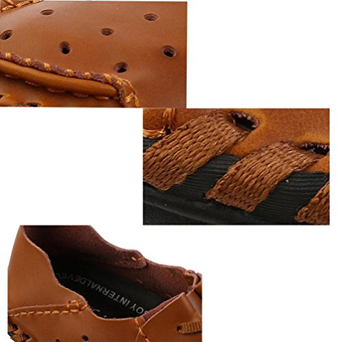 Gentleman's Loafers Comfortable LeatherEasy Match Lace-up Soft Soles Low Top antidérapant Casual Leisure Shoes EU Taille 38-48 Brown