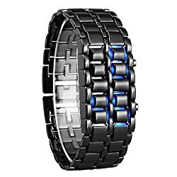 Fengfanglin Sport Digital Stainless Steel Black LED Watch for Men and Boys - 56