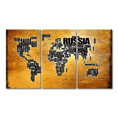 WandbilderXXL® Gedrucktes Leinwandbild Weltkarte Nr.6 180x100cm - in 6 verschiedenen Größen. Fertig gespannt auf Holzkeilrahmen. Günstige Leinwanddrucke für Kinderzimmer Schlafzimmer.