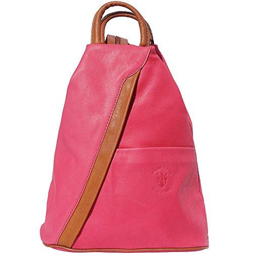 Rucksack Handtasche und Schultertasche 2061 (Pink-bräune) (Handtasche Braune Leder Italienische)