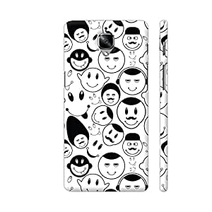 Colorpur OnePlus 3 Cover - Black And White Smiley Seamless Pattern Printed Back Case
